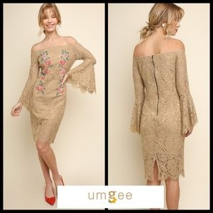 Umgee Off-Shoulder Lace Dress W/Floral Embroidery